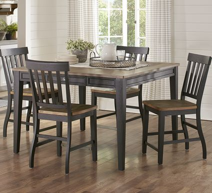 Keston Black 5 Pc Square Counter Height Dining Room