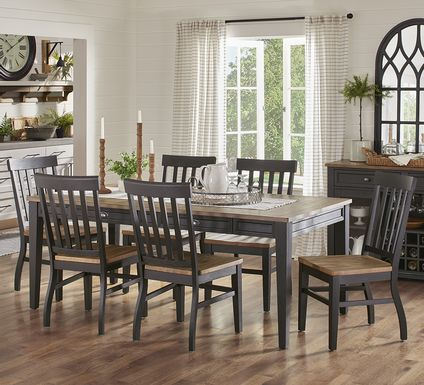 Keston Black 7 Pc Rectangle Dining Room