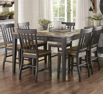 Keston Black 7 Pc Square Counter Height Dining Room