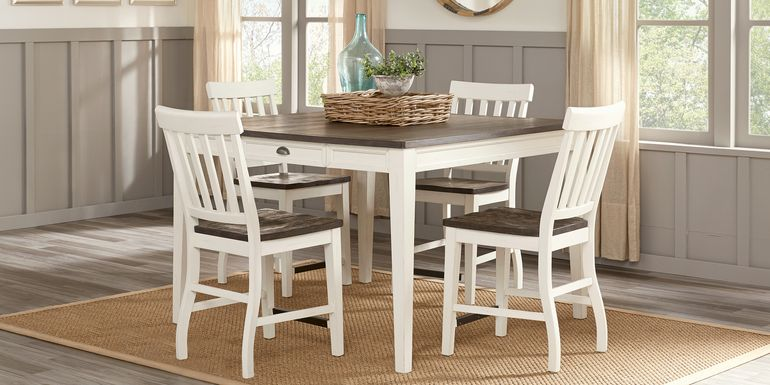 Keston White 5 Pc Square Counter Height Dining Room