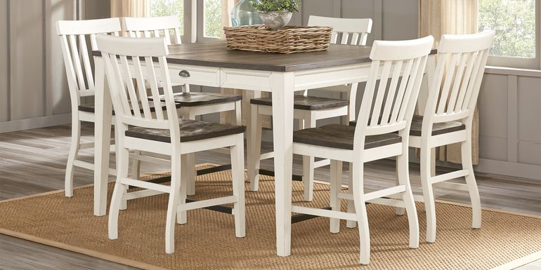 Keston White 7 Pc Square Counter Height Dining Room