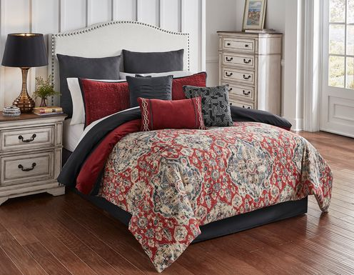 Kevlyn Red 10 Pc Queen Comforter Set