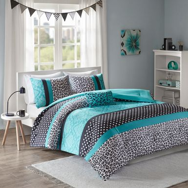 Kids Adrastea Teal 4 Pc Full/Queen Comforter Set