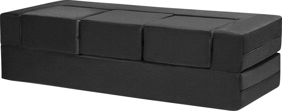 Alfy Black Convertible Sofa and Ottomans