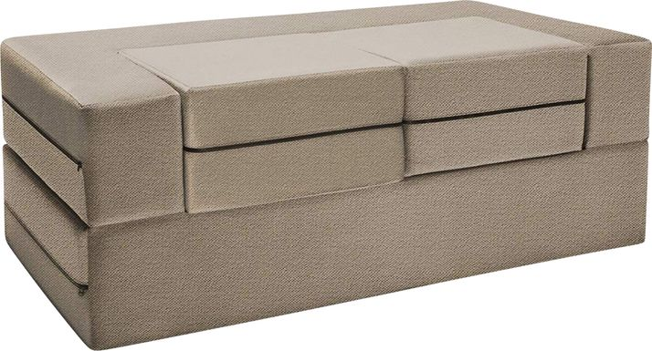 Kids Alfy Tan Convertible Loveseat and Ottoman
