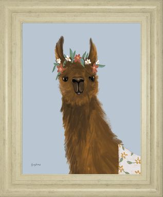 Kids Alpaca Portrait I Blue Artwork