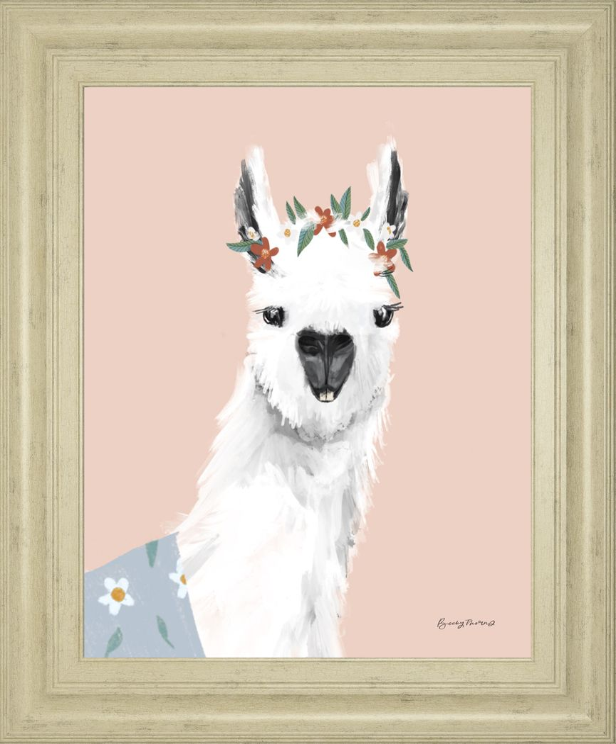 Kids Alpaca Portrait II Pink Artwork