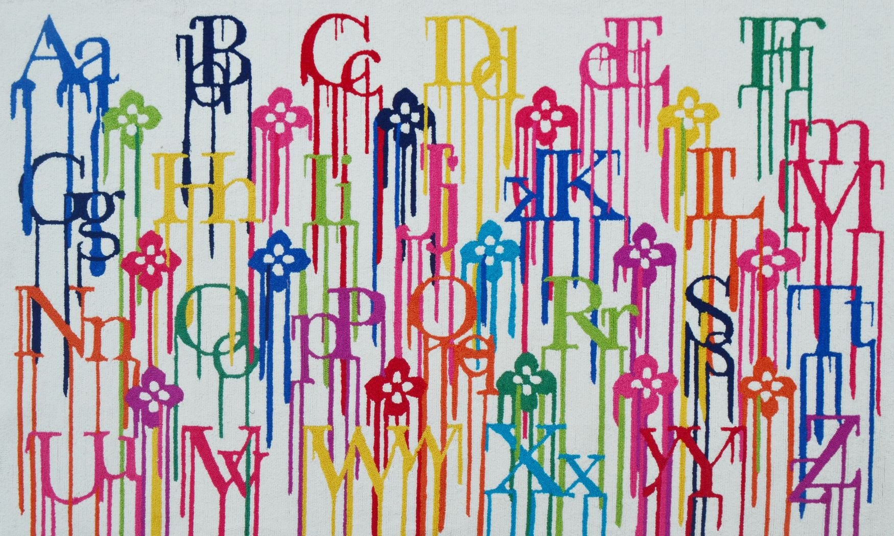 Kids Alphabet Rainbow White 2'8 x 4'8 Rug