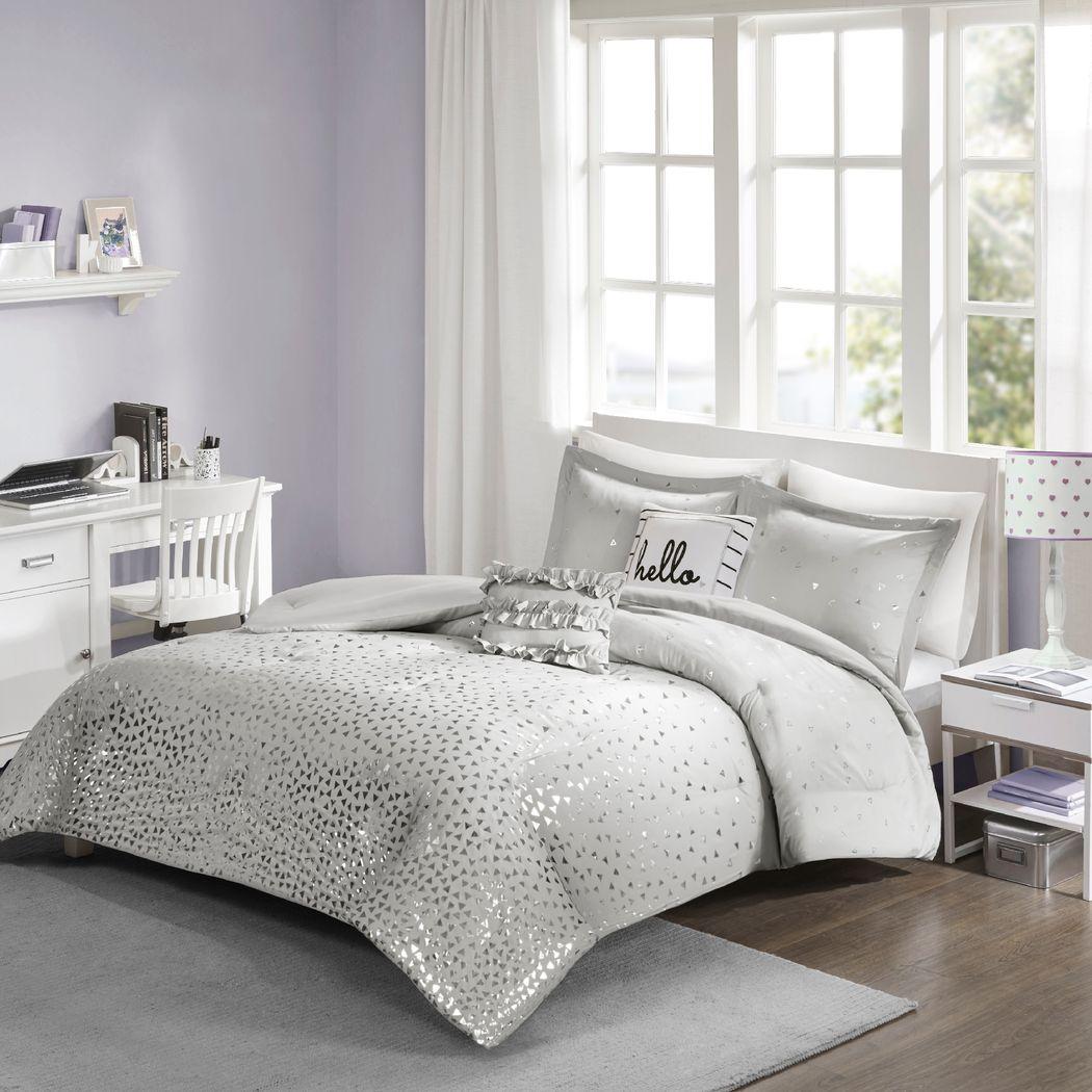 Kids Amedee Gray 4 Pc Twin Comforter Set