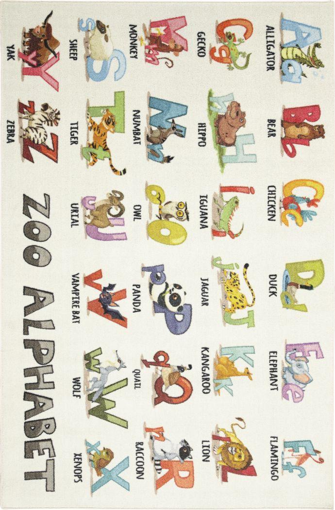 Kids Animal Alphabet White 5' x 8' Rug