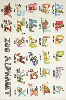 Kids Animal Alphabet White 5' x 8' Rug