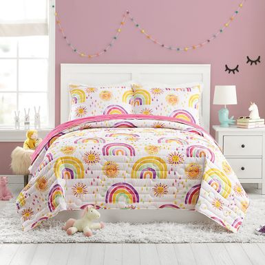 Kids Arcle Pink 3 Pc Full/Queen Quilt Set