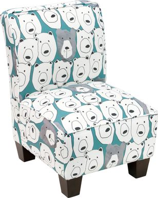 Auggie Aqua Toddler Accent Chair