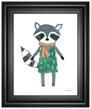Kids Autumn Raccoon White Artwork