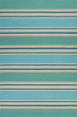 "Kids Azzure Stripes Teal 5' x 7'6"" Rug"