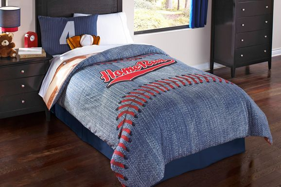 Kids Baseball Dreams Blue 5 Pc Full Comforter Set