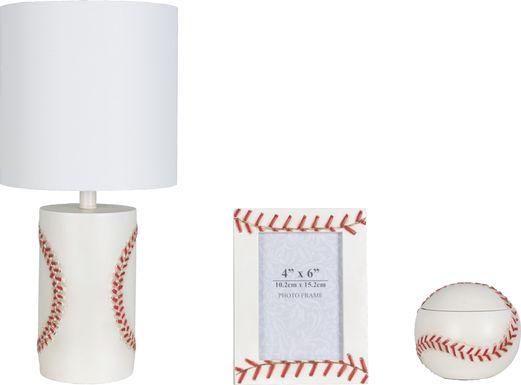 Kids Baseball Zone White 3 Pc Lamp Set