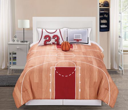 Kids Basketball Dream Orange 3 Pc Twin Comforter Set