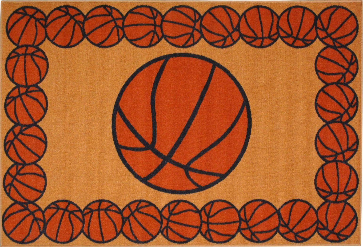 Kids Basketball Gametime Orange 3'2 x 4'8 Rug