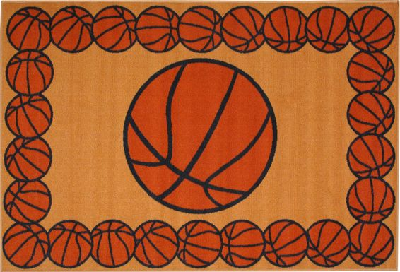 Kids Basketball Gametime Orange 3'2 x 4'8 Rug