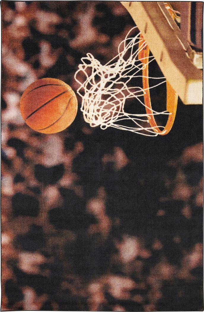 Kids Basketball Practice Brown 5' x 8' Rug