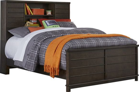 Kids Bay Street Charcoal 3 Pc Full Bookcase Bed
