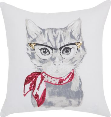 Kids Bespectacled Cat White Accent Pillow