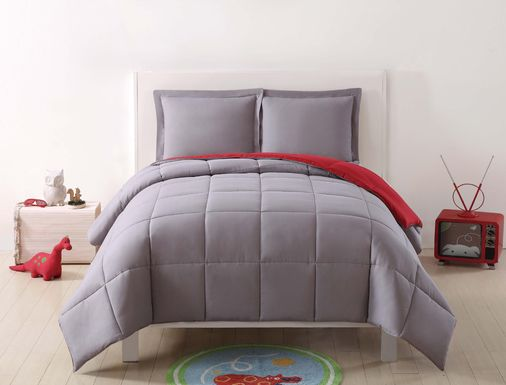 Kids Boyette Gray/Red 2 Pc Twin Comforter Set