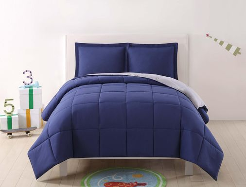 Kids Boyette Navy/Gray 2 Pc Twin Comforter Set