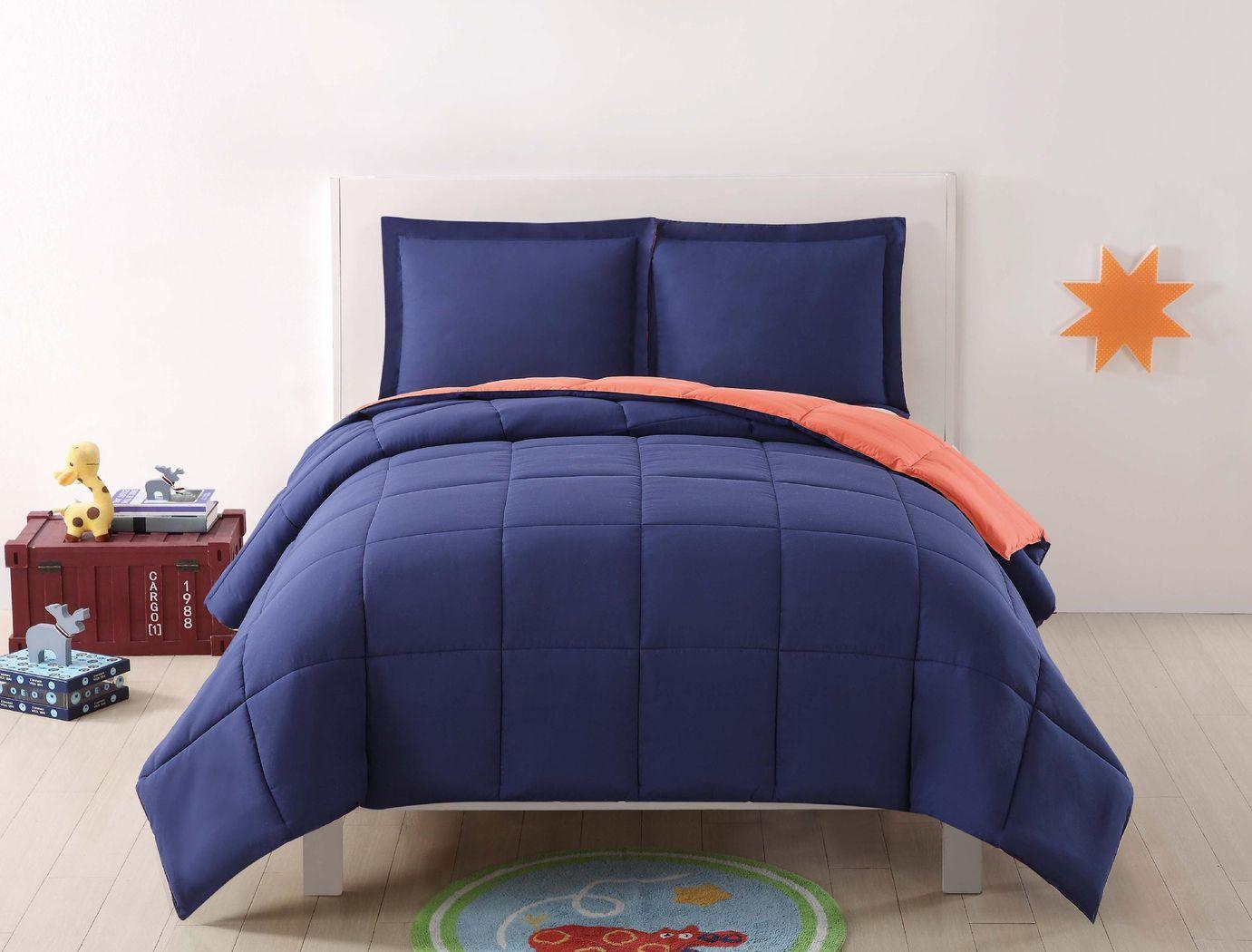 Kids Boyette Navy/Orange 2 Pc Twin Comforter Set