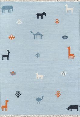 Kids Busy Meadow Blue 5' x 7'6 Rug