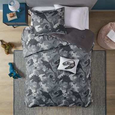 Kids Camo Dino Gray 3 Pc Twin Comforter Set