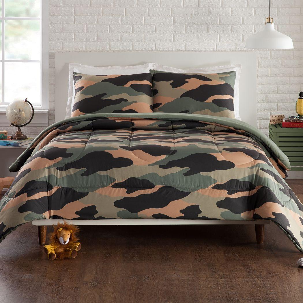Kids Camohunt Green 2 Pc Twin Comforter Set