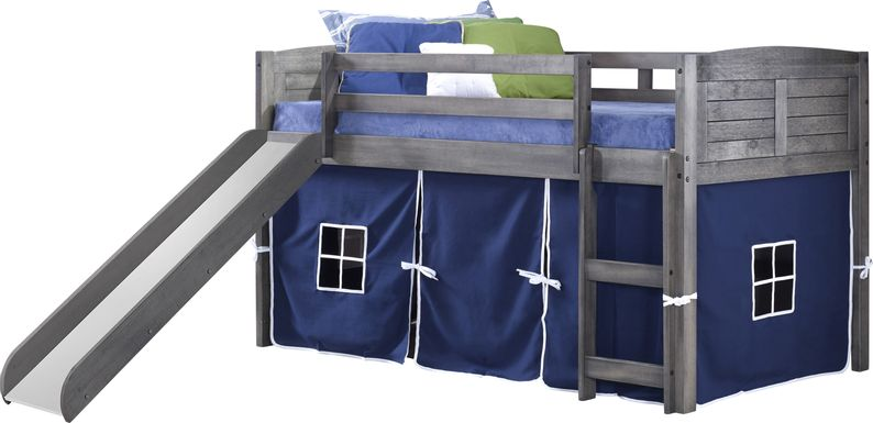 Kids Camp Hideaway Gray Twin Jr, Loft Bed with Blue Tent and Slide