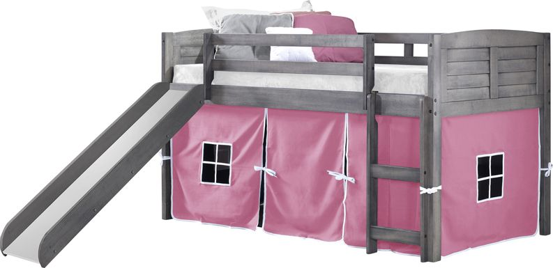Kids Camp Hideaway Gray Twin Jr. Loft Bed with Pink Tent and Slide