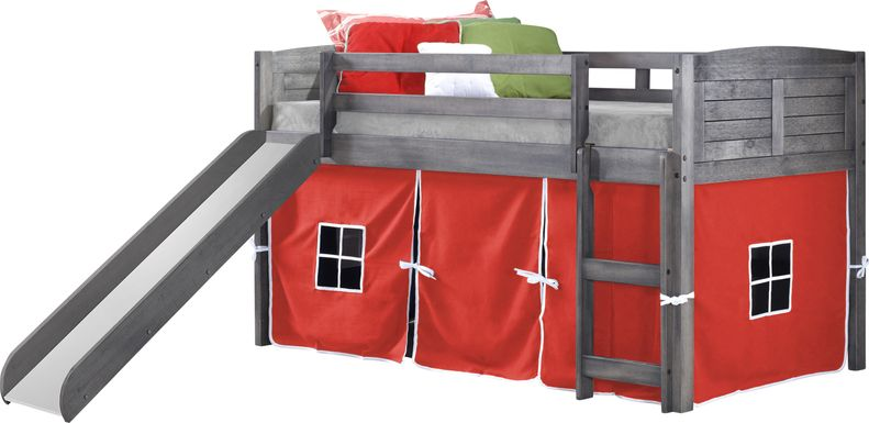 Kids Camp Hideaway Gray Twin Jr. Loft Bed with Red Tent and Slide