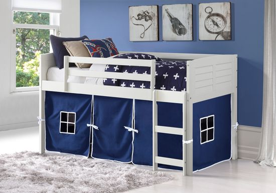 Kids Camp Hideaway White Twin Jr. Loft Bed with Blue Tent