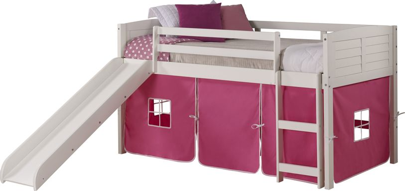 Kids Camp Hideaway White Twin Jr. Loft Bed with Pink Tent and Slide