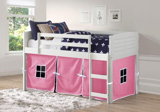 Kids Camp Hideaway White Twin Jr. Loft Bed with Pink Tent
