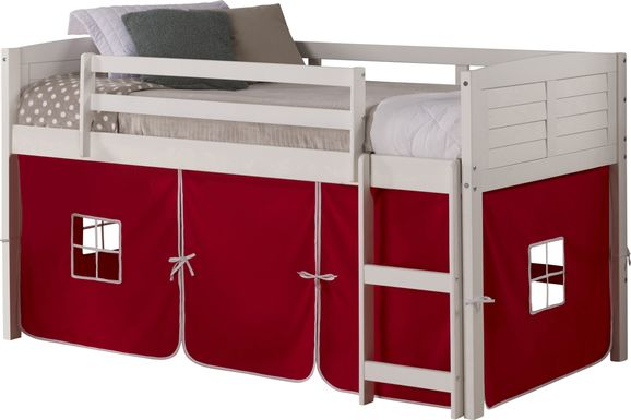 Kids Camp Hideaway White Twin Jr. Loft Bed with Red Tent