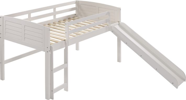 Kids Camp Hideaway White Twin Jr. Loft Bed with Slide