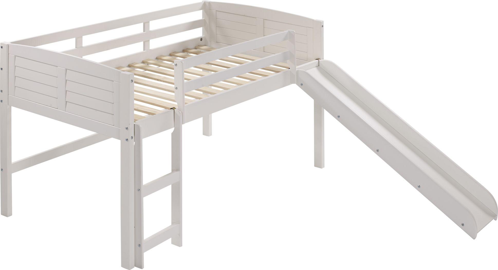 Kids Camp Hideaway White Twin Jr. Loft Bed with Slide