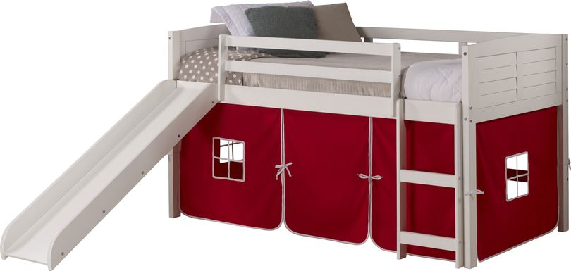 Kids Camp Hideaway White Twin Jr. Loft with Red Tent and Slide