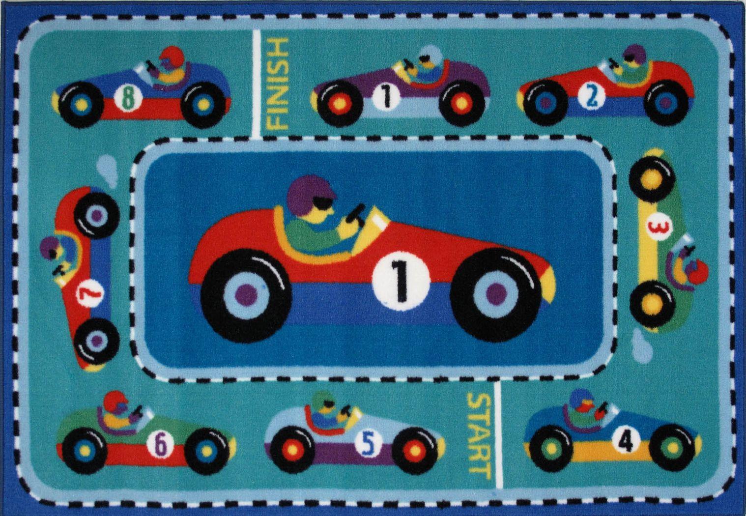 Kids Chasing Cars Blue 3' x 5' Rug