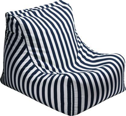 Kids Chatty Garden Navy/White Indoor/Outdoor Bean Bag Chair