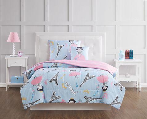 Kids Chique Parisian Blue 3 Pc Twin Comforter Set