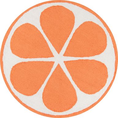 Kids Citrus Love Orange 36 In. Round Rug