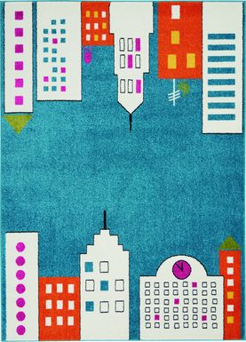 Kids City Limits Teal 4' x 6' Rug