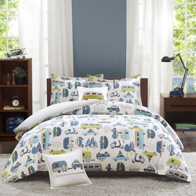 Kids City Traffic White 3 Pc Twin Comforter Set