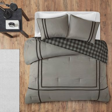 Kids Classic Checks Gray 3 Pc Full/Queen Comforter Set